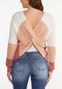 Plus Size Colorblock Twist Back Sweater alternate view