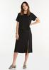 Plus Size Black Front Slit Skirt alt view