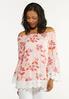Plus Size Lace Trim Floral Poet Top alt view