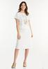 Plus Size Ivory Ribbed Skirt alt view