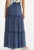 Plus Size Ruffled Vintage Blue Maxi Skirt alternate view