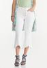 Cropped White Frayed Jeans alt view