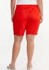 Plus Size Red Denim Shorts alternate view