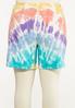 Plus Size Tie Dye Jean Shorts alternate view