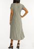 Plus Size Green Striped Midi Dress alternate view