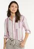 Berry Stripe Linen Shirt alt view