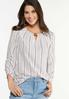 Plus Size Stripe Ruched Sleeve Top alt view