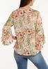 Plus Size Floral Ruffle Sleeve Top alternate view