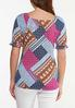 Plus Size Patchwork Puff Sleeve Top alternate view