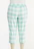 Plus Size Cropped Mint Gingham Pants alternate view