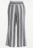 Plus Size Black Stripe Linen Pants alternate view