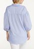 Plus Size Blue Striped Puff Sleeve Shirt alternate view