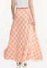 Plus Size Peach Gingham Maxi Skirt alternate view