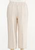 Plus Size Striped Linen Cropped Pants alternate view