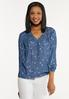 Plus Size Chambray Star Poet Top alt view