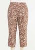 Plus Size Cropped Brush Stroke Linen Pants alternate view