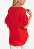 Plus Size Lacy Flounced Sleeve Top alternate view