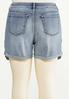 Plus Size Distressed Gingham Denim Shorts alternate view