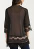 Plus Size Black Lace Trim Kimono alternate view