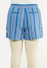 Plus Size Blue Stripe Linen Shorts alternate view
