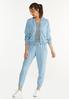 Petite Smocked Chambray Joggers alt view