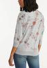 Plus Size Gray Floral Sweatshirt alternate view