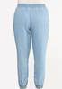 Plus Size Smocked Chambray Joggers alternate view