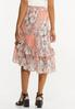 Plus Size Ruffled Sketch Floral Midi Skirt alternate view