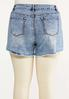 Plus Size Distressed Paint Splatter Denim Shorts alternate view