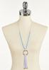 Mosaic Faux Leather Tassel Necklace alternate view