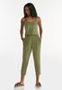 Cropped Dyed Olive Jumpsuit alt view