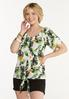 Plus Size Tropical Tie Front Top alt view