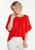 Red Flutter Sleeve Top alt view