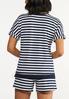 Plus Size Striped Roll Cuff Top alternate view
