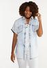 Plus Size Acid Wash Button Collar Shirt alt view