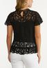 Plus Size Solid Mesh Embroidered Top alternate view