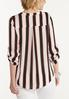 Plus Size Striped Zip Front Top alternate view