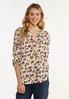 Plus Size Leopard Popover Top alt view