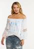 Plus Size Tie Dye Lace Trim Poet Top alt view