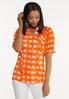 Plus Size Orange Checkered Top alt view