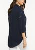 Plus Size Navy Lace Inset Top alternate view