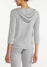 Plus Size Ribbed Zip Front Hoodie alternate view