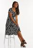 Plus Size Summer Leaf Seamed Dress alt view