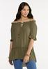 Plus Size Olive Ruffled Tunic alt view