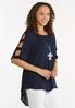 Plus Size Dotted Ladder Sleeve Top alt view