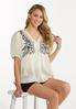 Plus Size Embroidered Babydoll Top alt view