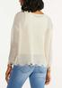 Plus Size Distressed Scalloped Sweater alternate view