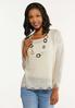 Plus Size Distressed Scalloped Sweater alt view