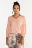 Plus Size Solid V- Neck Lounge Tee alt view