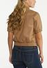 Plus Size Faux Leather Bomber Jacket alternate view